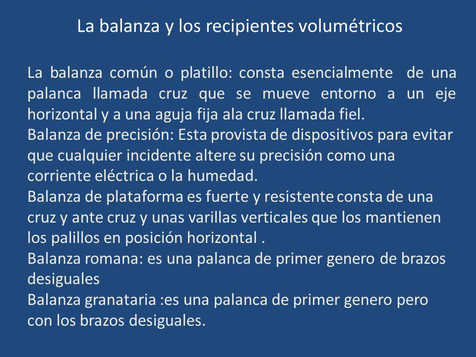 La balanza y los recipientes volumétricos