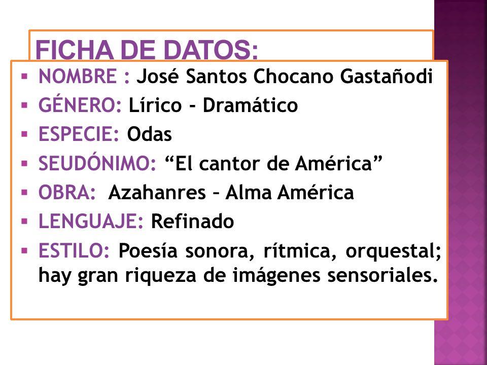FICHA DE DATOS: NOMBRE : José Santos Chocano Gastañodi