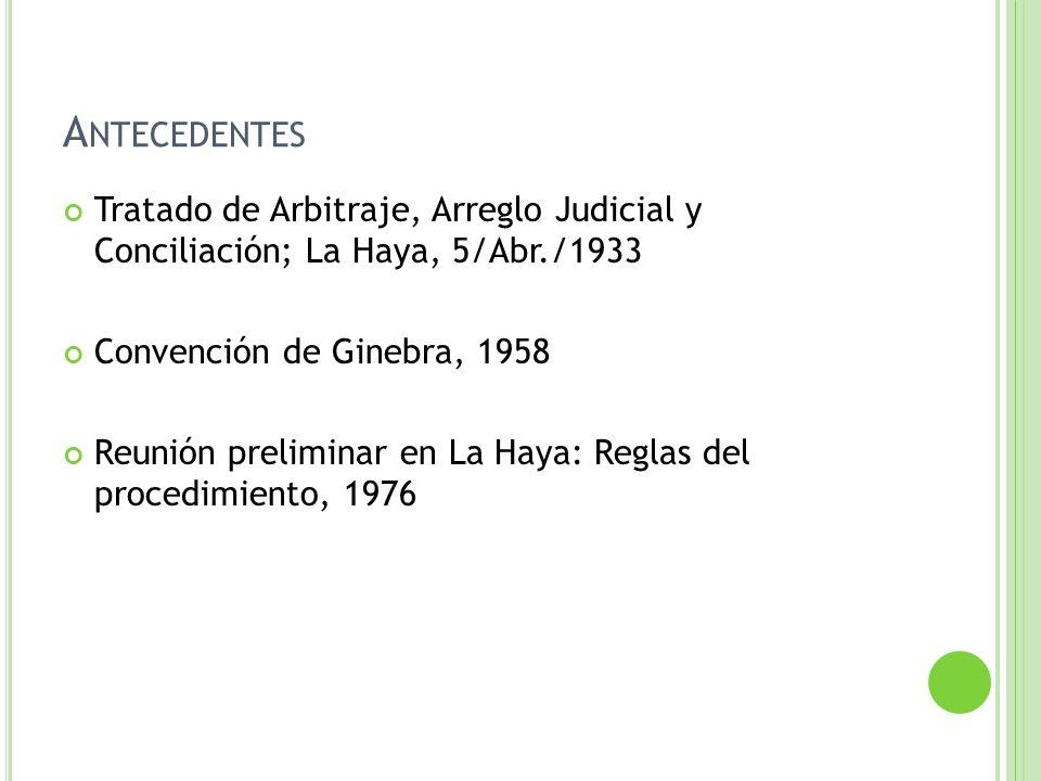 Antecedentes Tratado de Arbitraje, Arreglo Judicial y Conciliación; La Haya, 5/Abr./1933. Convención de Ginebra, 1958.
