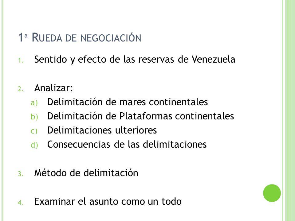 1ª Rueda de negociación Sentido y efecto de las reservas de Venezuela