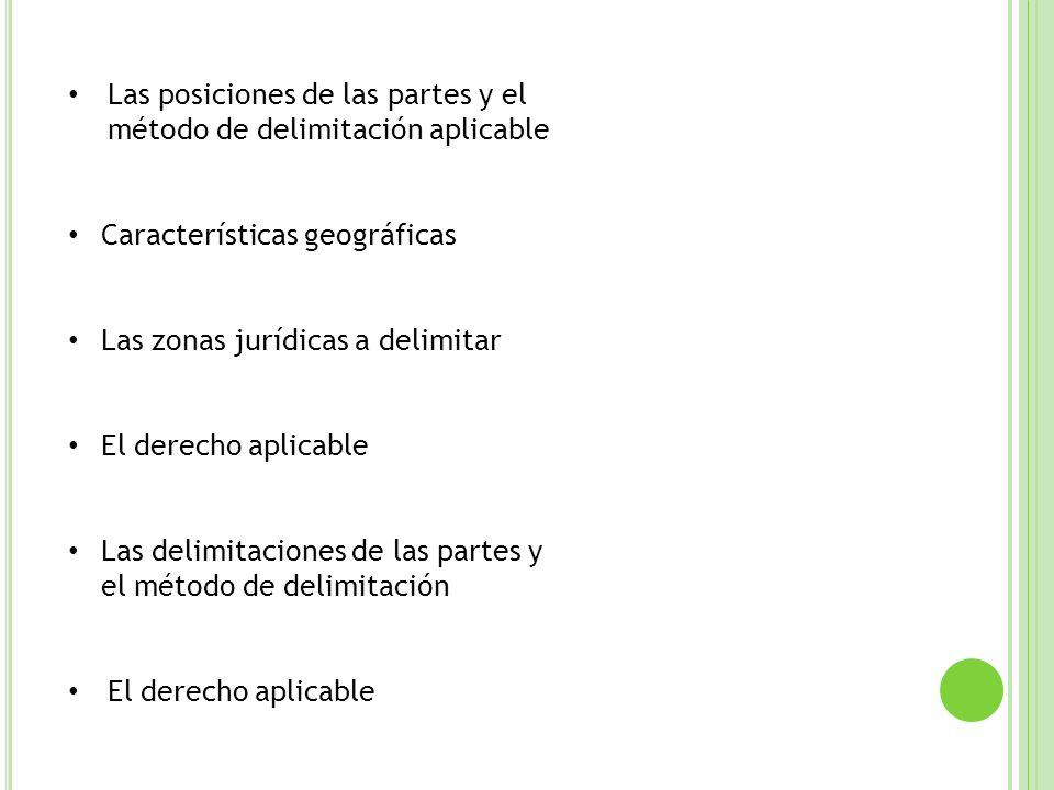Las posiciones de las partes y el método de delimitación aplicable