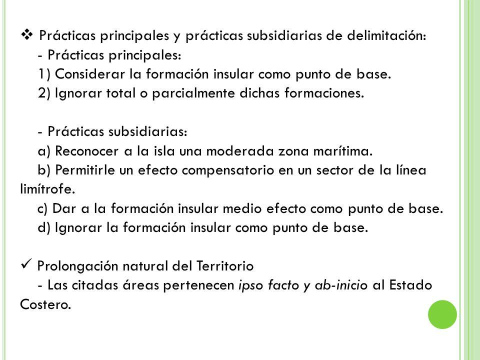 Prácticas principales y prácticas subsidiarias de delimitación: