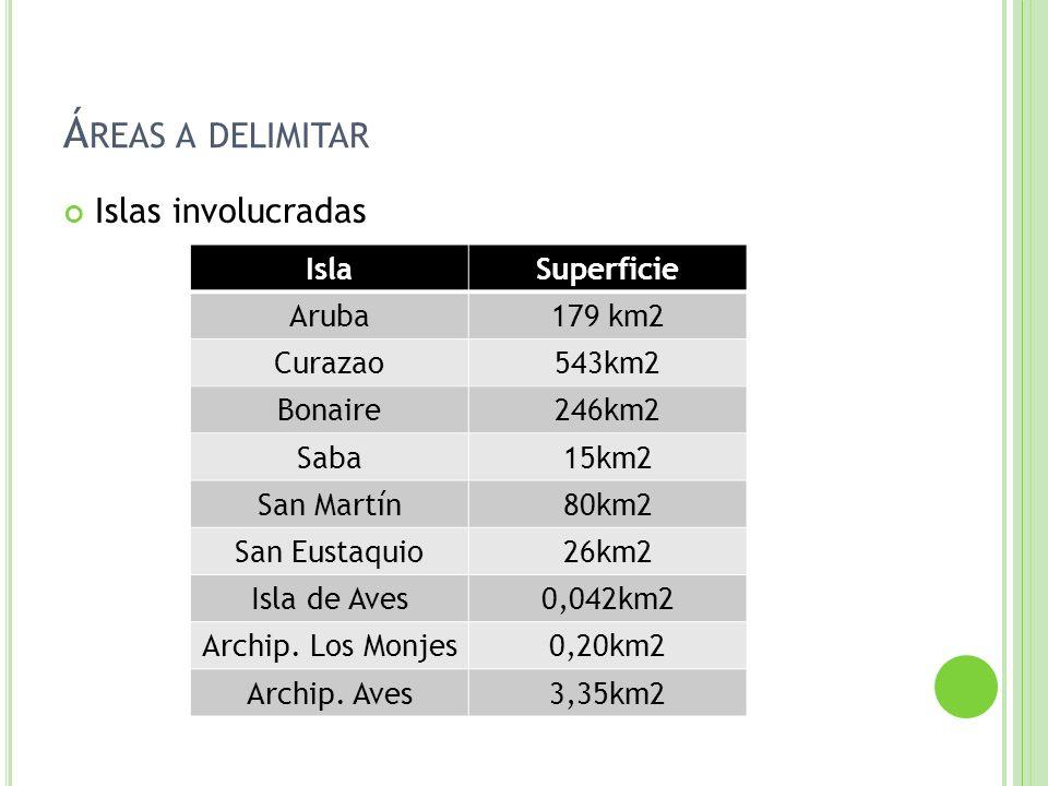 Áreas a delimitar Islas involucradas Isla Superficie Aruba 179 km2