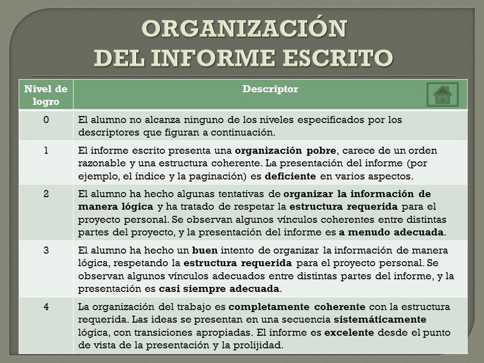 ORGANIZACIÓN DEL INFORME ESCRITO
