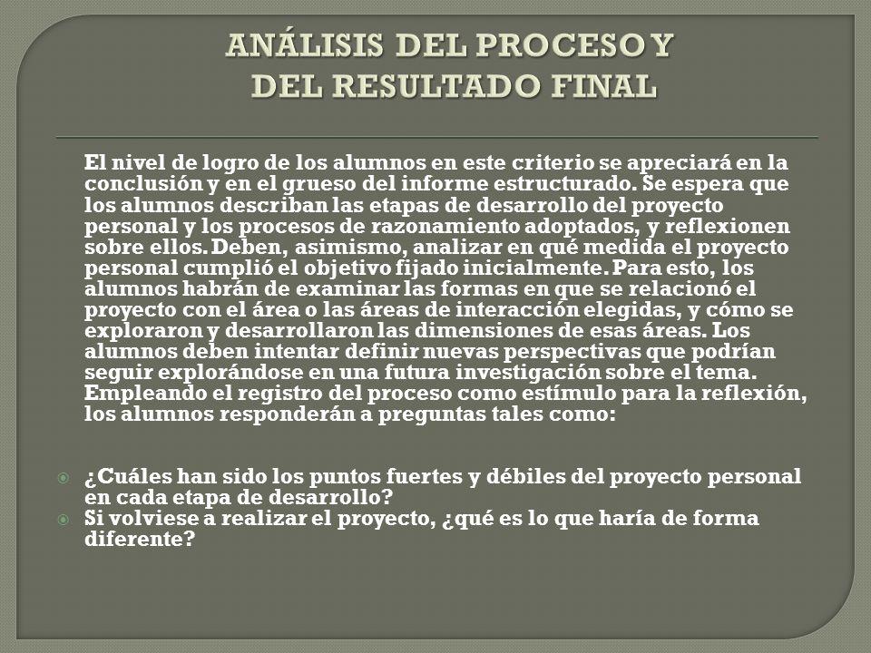 ANÁLISIS DEL PROCESO Y DEL RESULTADO FINAL