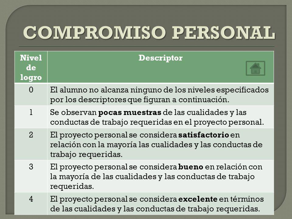 COMPROMISO PERSONAL Nivel de logro Descriptor
