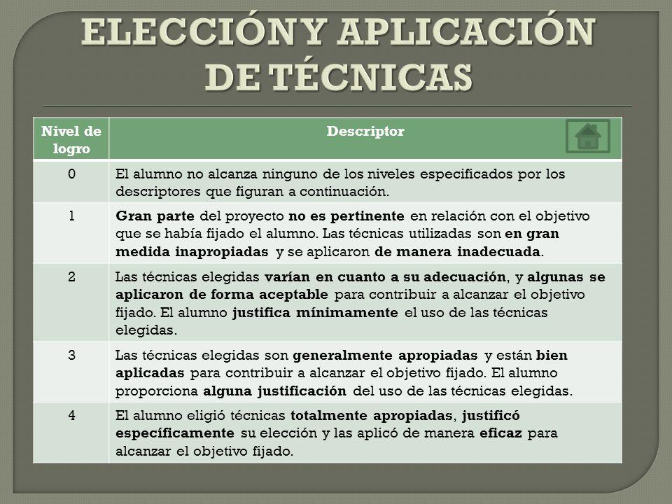 ELECCIÓN Y APLICACIÓN DE TÉCNICAS