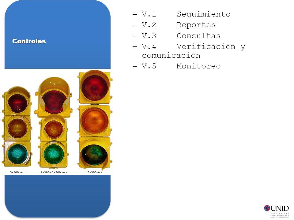 V.4 Verificación y comunicación V.5 Monitoreo