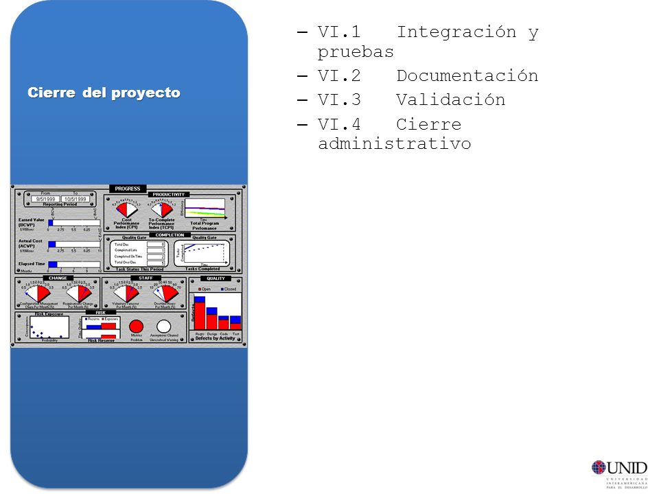 VI.1 Integración y pruebas VI.2 Documentación VI.3 Validación