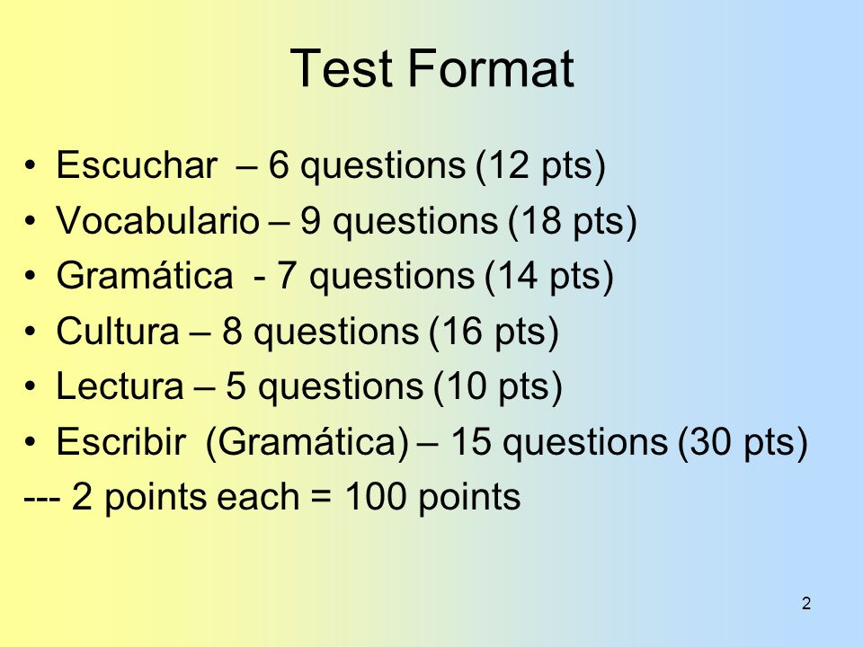 Test Format Escuchar – 6 questions (12 pts)