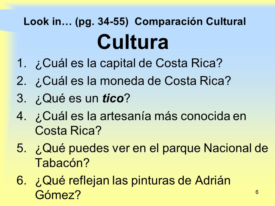 Look in… (pg. 34-55) Comparación Cultural