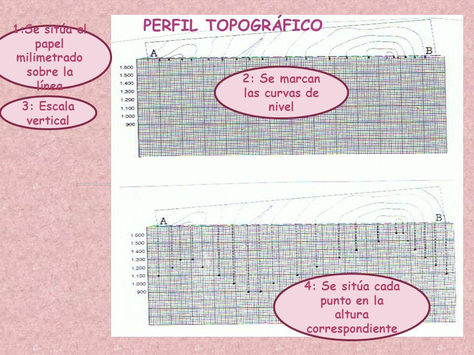 PERFIL TOPOGRÁFICO 1:Se sitúa el papel milimetrado sobre la línea