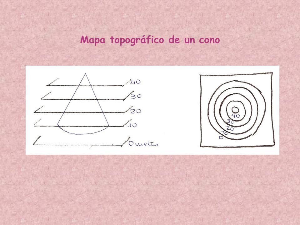 Mapa topográfico de un cono