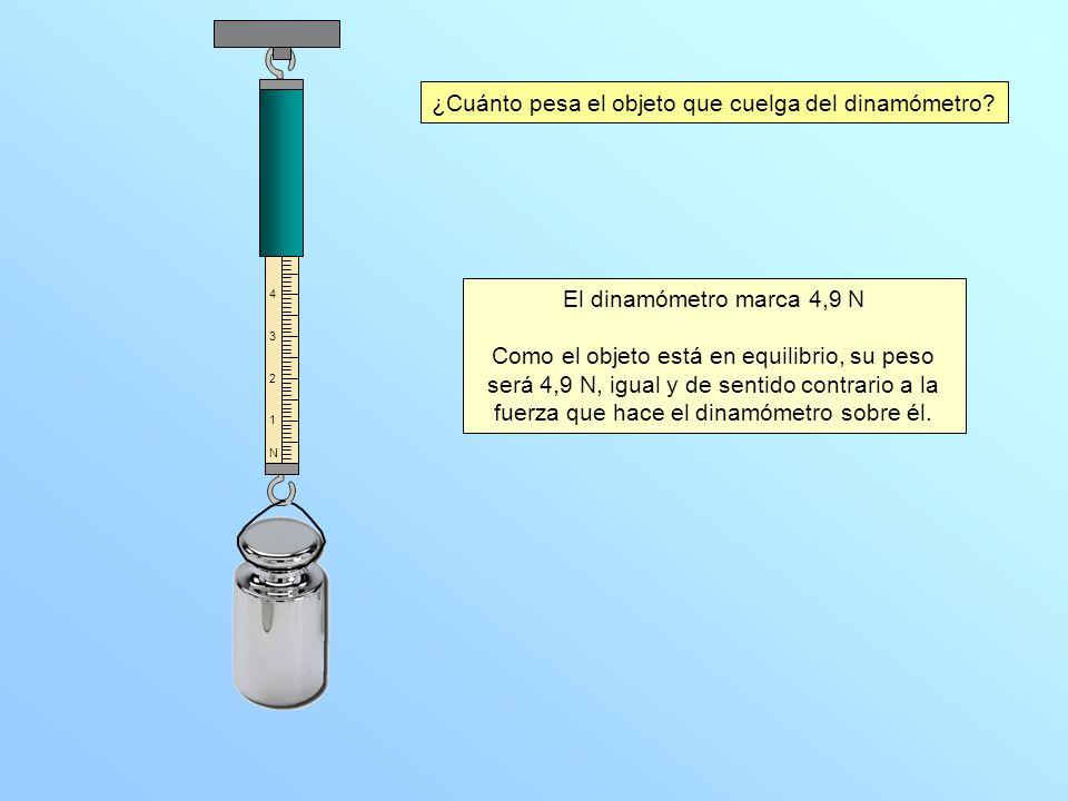 ¿Cuánto pesa el objeto que cuelga del dinamómetro