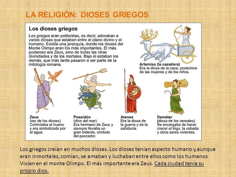 LA RELIGIÓN: DIOSES GRIEGOS