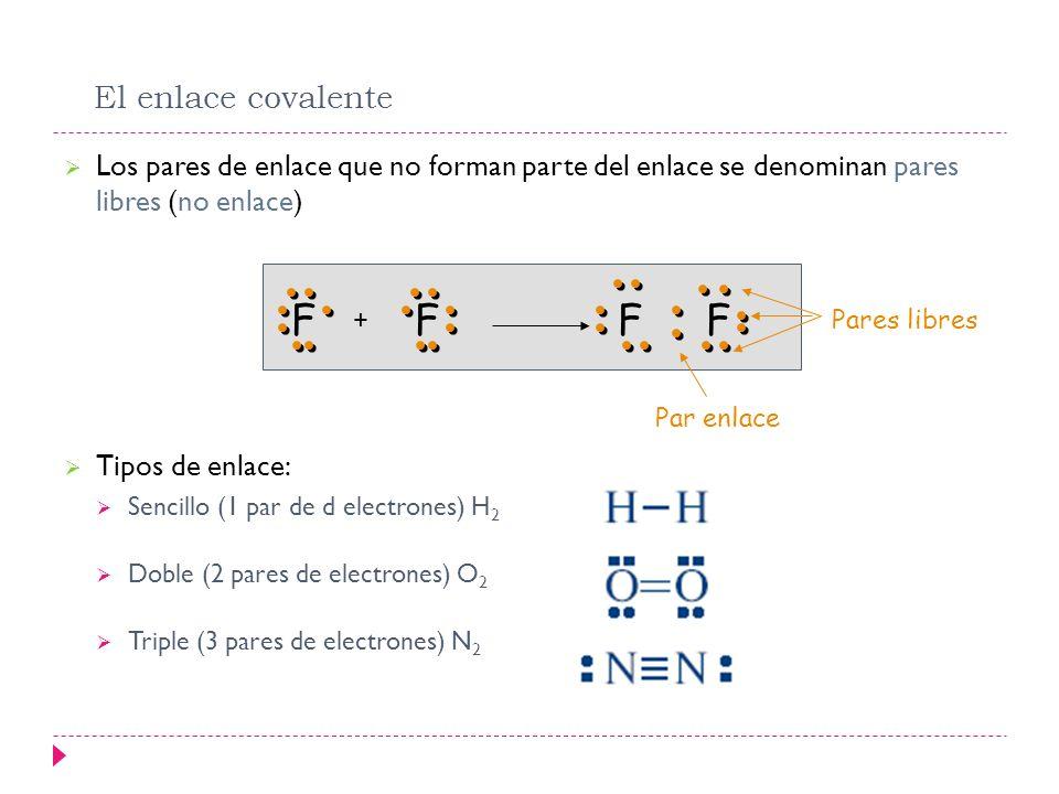 El enlace covalente Los pares de enlace que no forman parte del enlace se denominan pares libres (no enlace)