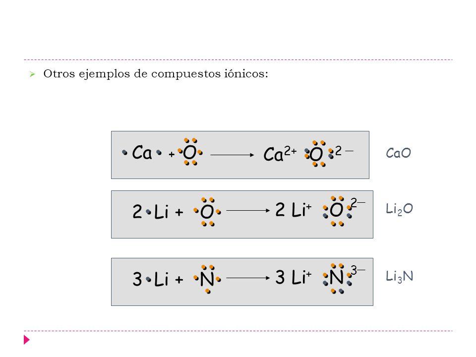 Ca + O Ca2+ O 2 2 Li+ O 2 Li + O 2 3 Li + N 3 Li+ N 3 CaO Li2O Li3N
