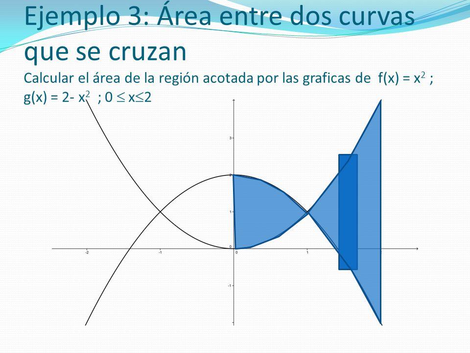 Ejemplo 3: Área entre dos curvas que se cruzan Calcular el área de la región acotada por las graficas de f(x) = x2 ; g(x) = 2- x2 ; 0  x2