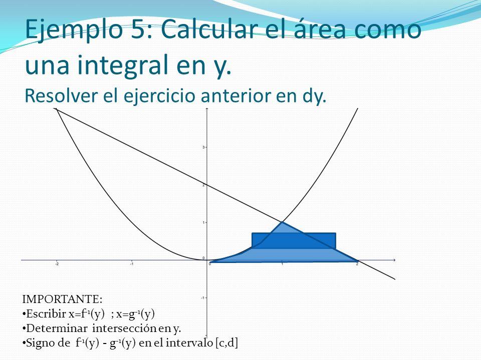 Ejemplo 5: Calcular el área como una integral en y
