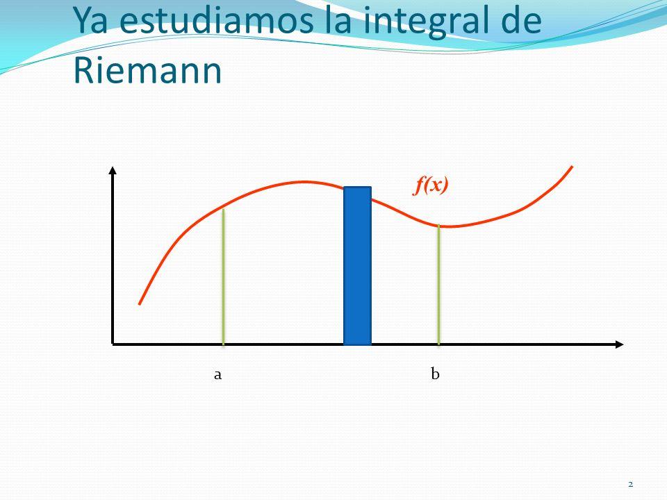 Ya estudiamos la integral de Riemann