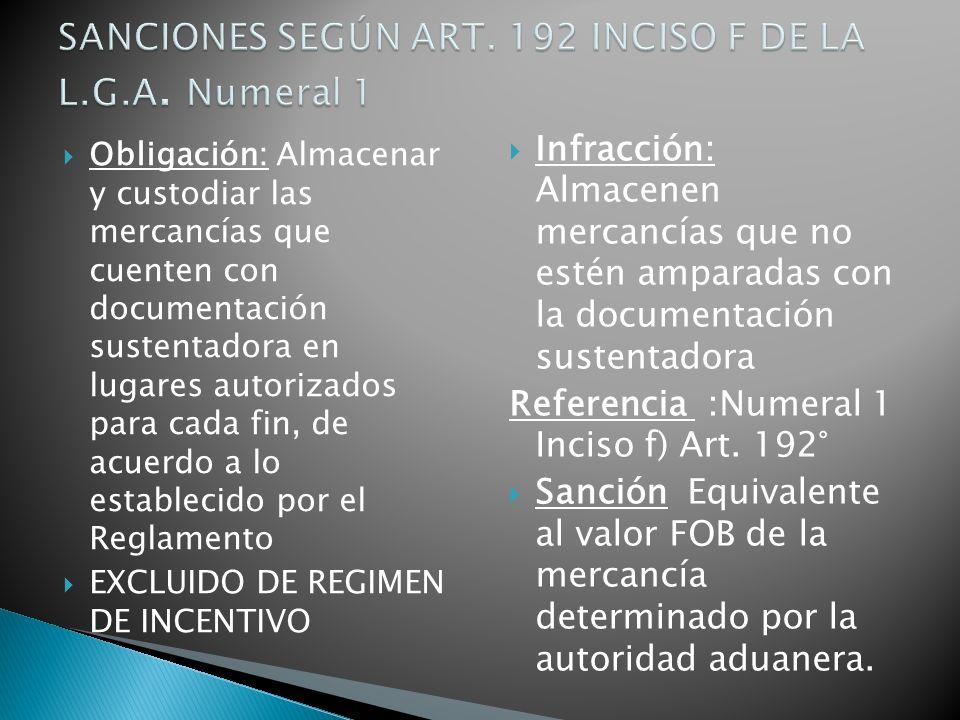 SANCIONES SEGÚN ART. 192 INCISO F DE LA L.G.A. Numeral 1
