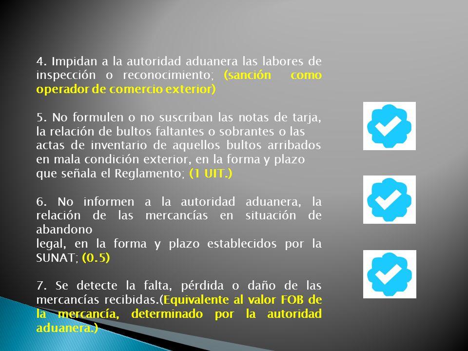 4. Impidan a la autoridad aduanera las labores de inspección o reconocimiento; (sanción como operador de comercio exterior)