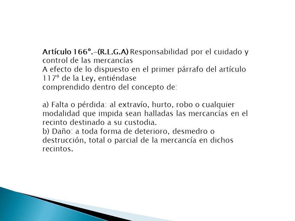 Artículo 166º.-(R.L.G.A) Responsabilidad por el cuidado y control de las mercancías