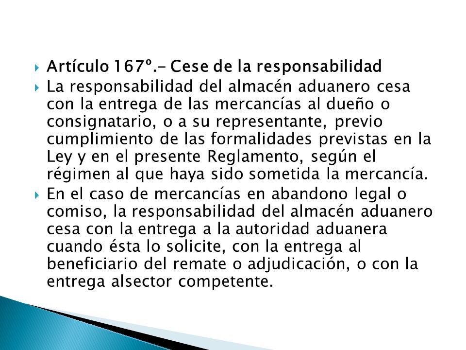Artículo 167º.- Cese de la responsabilidad