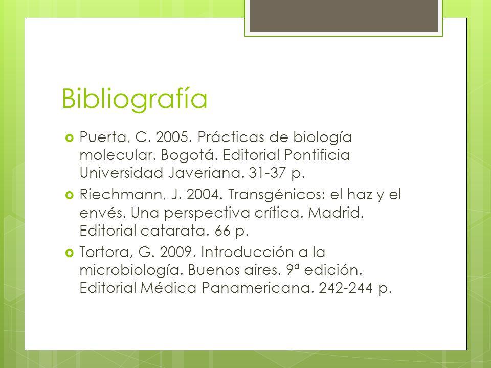 Bibliografía Puerta, C. 2005. Prácticas de biología molecular. Bogotá. Editorial Pontificia Universidad Javeriana. 31-37 p.