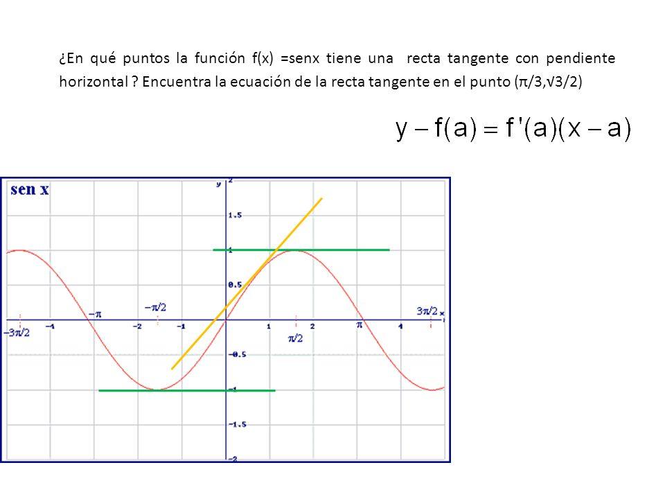 ¿En qué puntos la función f(x) =senx tiene una recta tangente con pendiente horizontal .