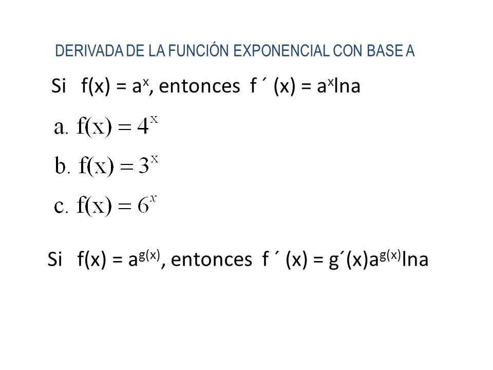 Si f(x) = ax, entonces f ´ (x) = axlna