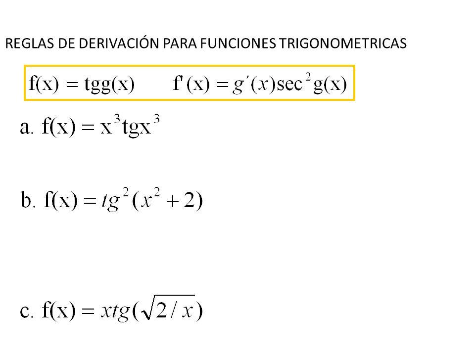 REGLAS DE DERIVACIÓN PARA FUNCIONES TRIGONOMETRICAS