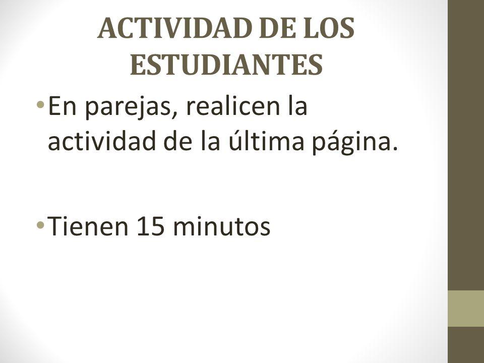 ACTIVIDAD DE LOS ESTUDIANTES