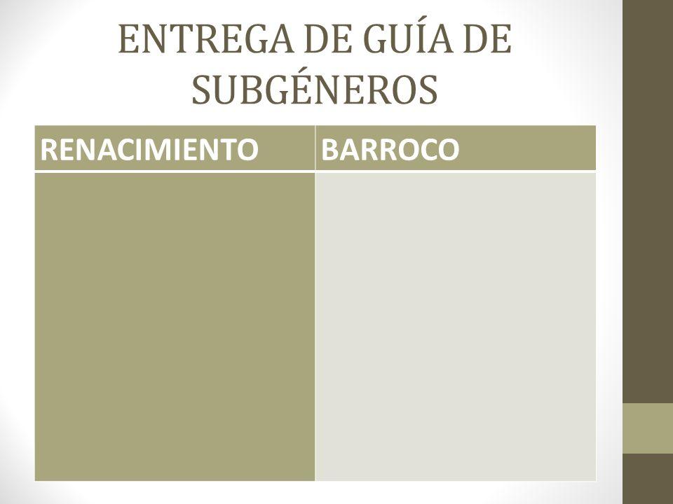 ENTREGA DE GUÍA DE SUBGÉNEROS