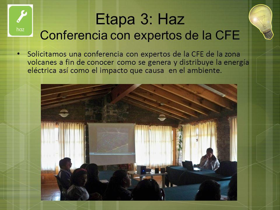Etapa 3: Haz Conferencia con expertos de la CFE