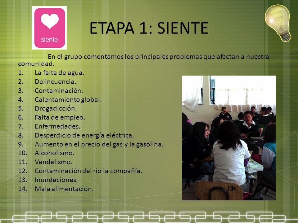 ETAPA 1: SIENTE En el grupo comentamos los principales problemas que afectan a nuestra comunidad. La falta de agua.