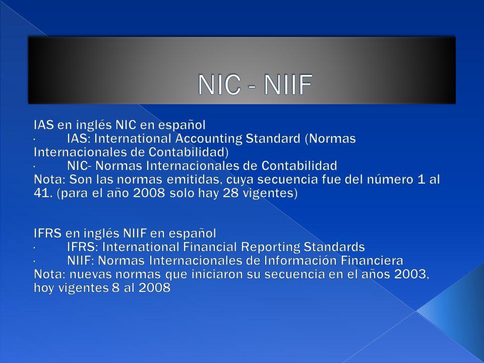 NIC - NIIF IAS en inglés NIC en español