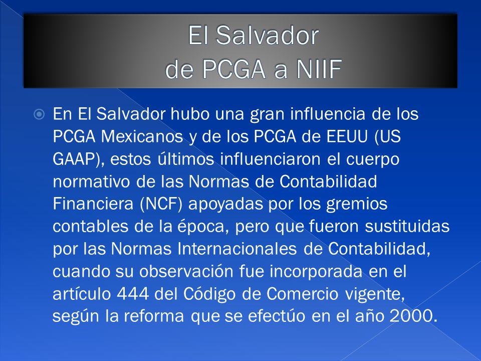 El Salvador de PCGA a NIIF