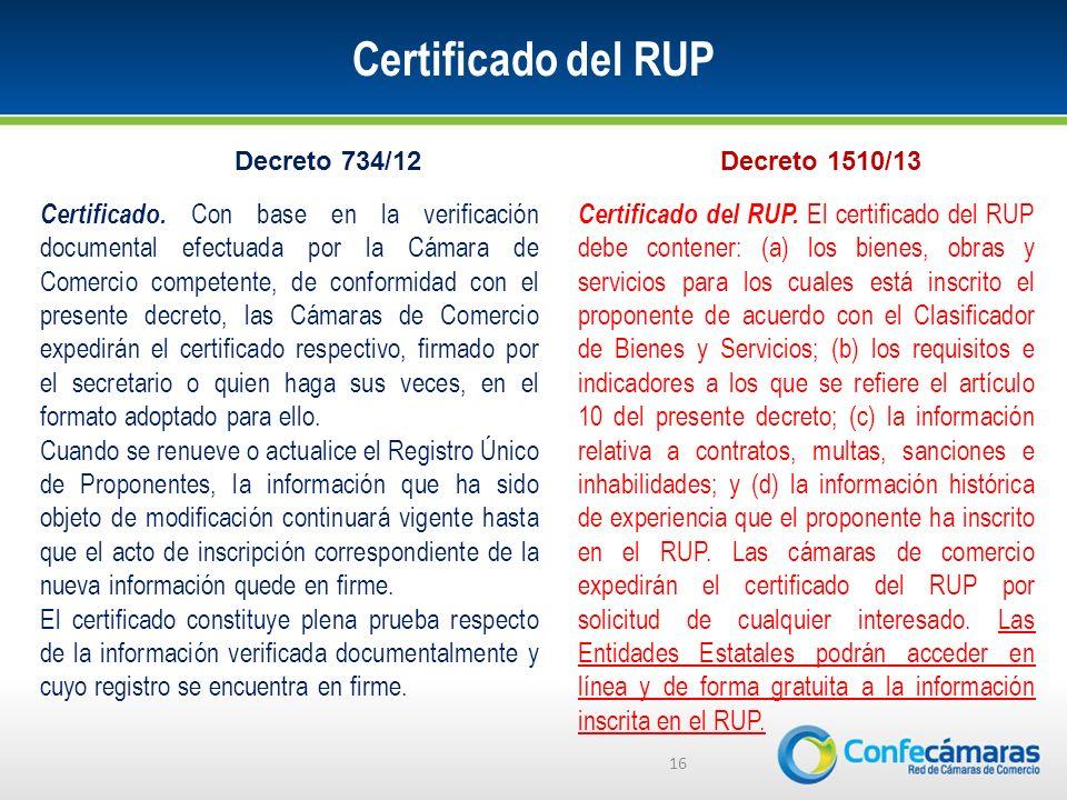 Certificado del RUP Decreto 734/12. Decreto 1510/13.