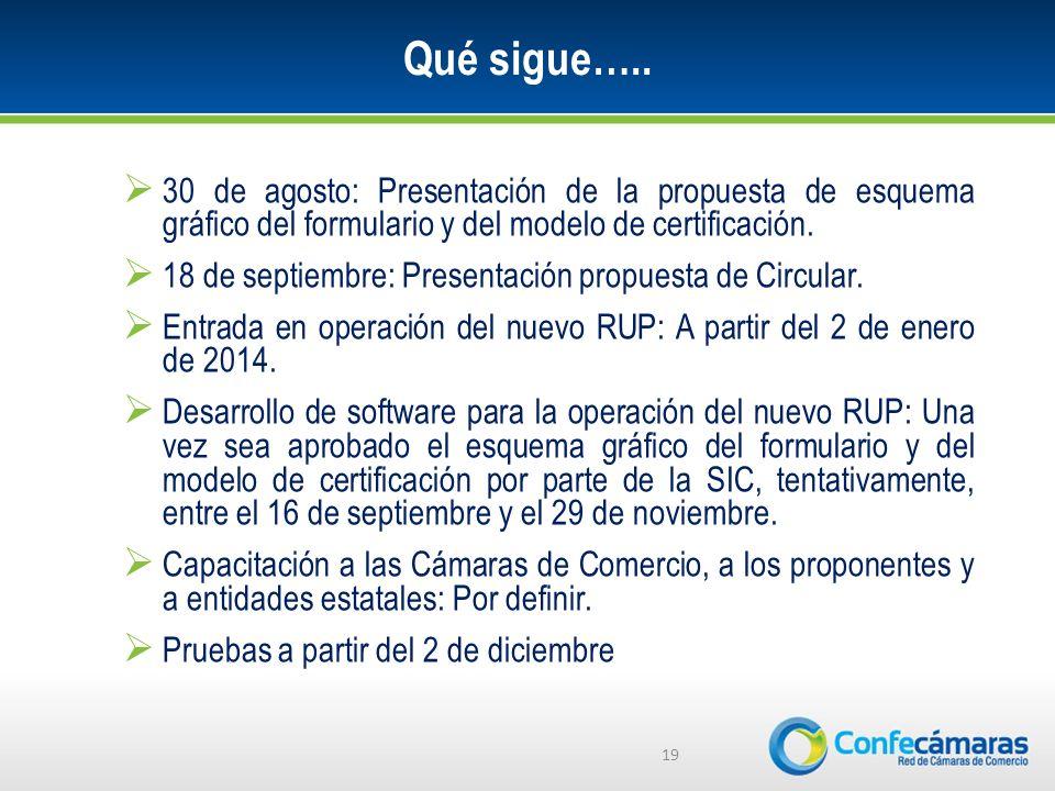 Qué sigue….. 30 de agosto: Presentación de la propuesta de esquema gráfico del formulario y del modelo de certificación.