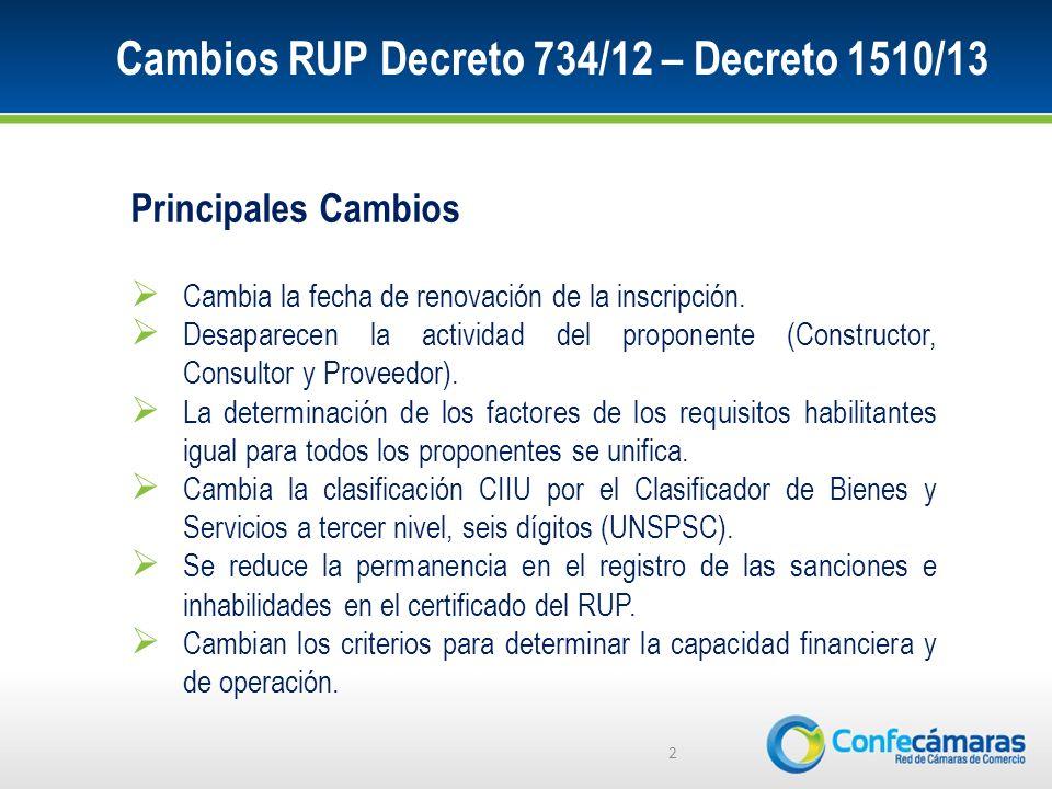 Cambios RUP Decreto 734/12 – Decreto 1510/13