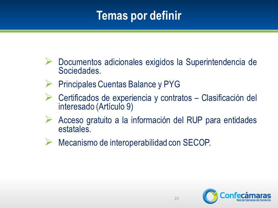 Temas por definir Documentos adicionales exigidos la Superintendencia de Sociedades. Principales Cuentas Balance y PYG.
