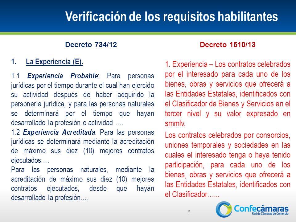 Verificación de los requisitos habilitantes