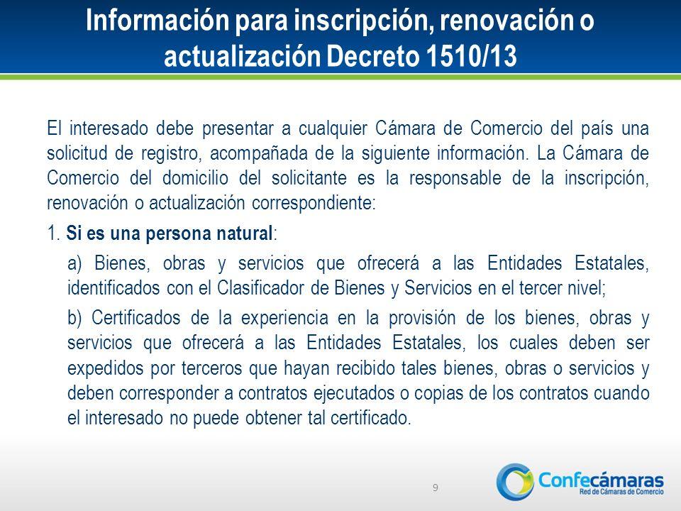 Información para inscripción, renovación o actualización Decreto 1510/13