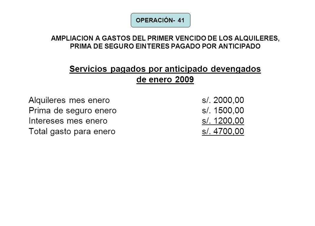 Servicios pagados por anticipado devengados