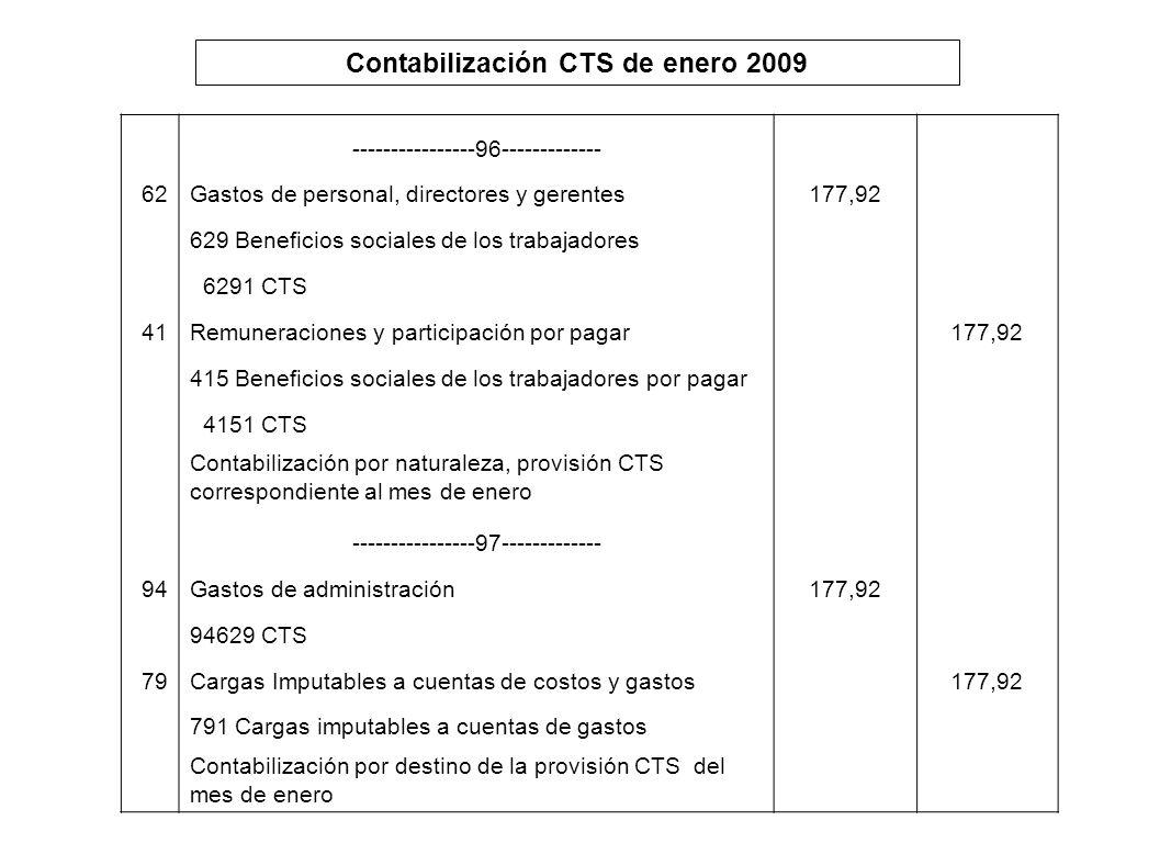 Contabilización CTS de enero 2009