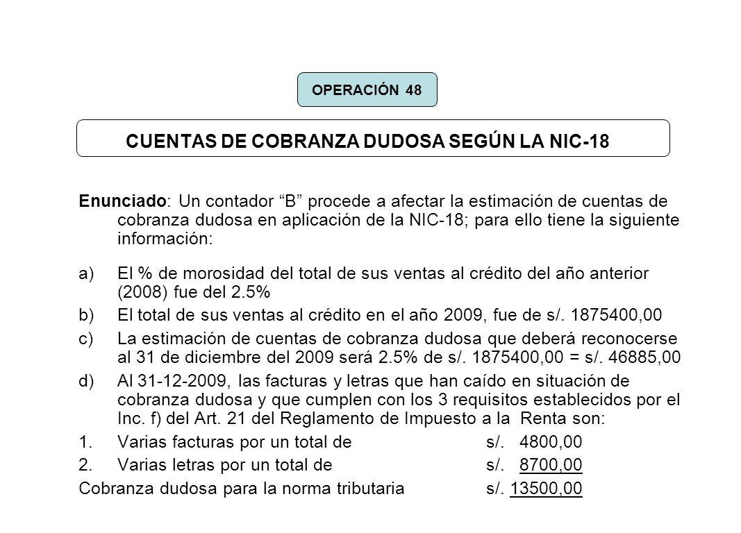 CUENTAS DE COBRANZA DUDOSA SEGÚN LA NIC-18
