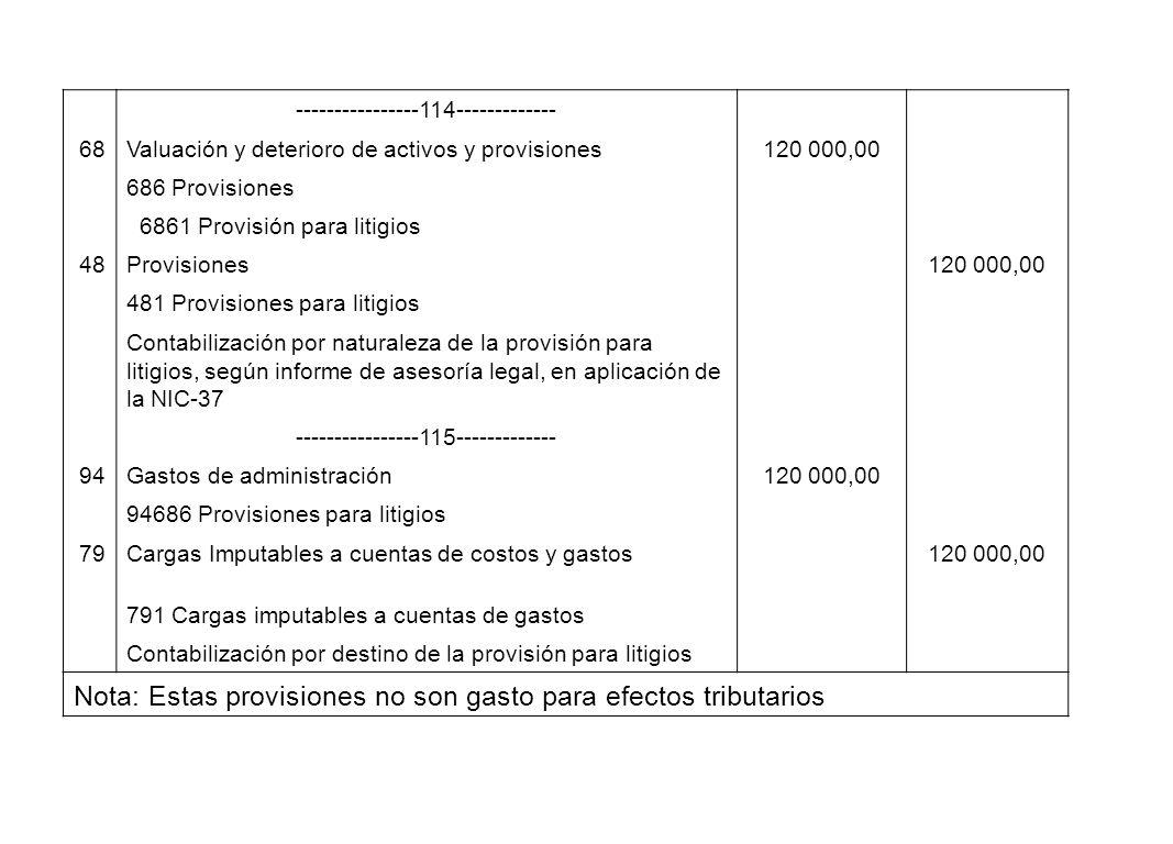 Nota: Estas provisiones no son gasto para efectos tributarios