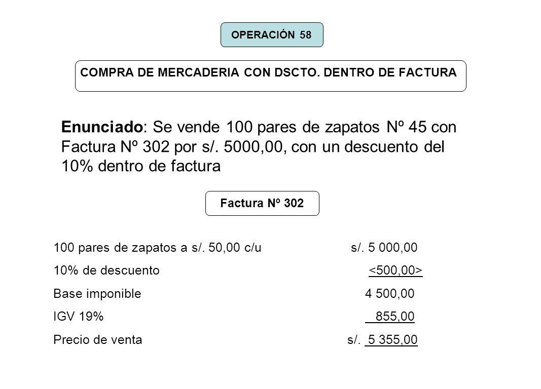 COMPRA DE MERCADERIA CON DSCTO. DENTRO DE FACTURA