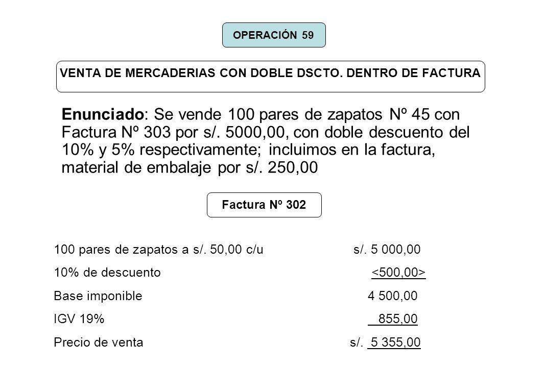 VENTA DE MERCADERIAS CON DOBLE DSCTO. DENTRO DE FACTURA